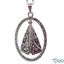 Imagem - Colar com Medalha Folheada a Prata de Nossa Senhora Aparecida cód: 15240517