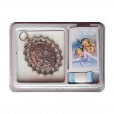Imagem - Medalhão de Berço Anjo da Guarda em Relevo com Fita cód: 19130308-1