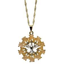 Imagem - Colar Dourado Vazado Divino Espirito Santo com Strass cód: 10112047-8-1