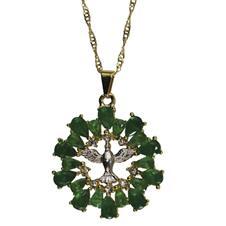 Colar Dourado Vazado Divino Espirito Santo com Strass Verde