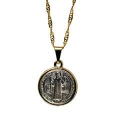 Imagem - Colar Prata e Dourado de São Bento cód: 19877714