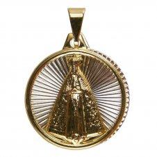 Imagem - Pingente de Nossa Senhora Aparecida Folheado a Ouro com Inox cód: 13363026