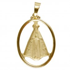 Imagem - Pingente de Nossa Senhora Aparecida Oval Folheado a Ouro cód: 14008113