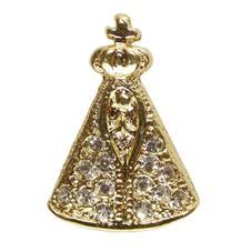 Imagem - Pingente de Aparecida Folheado a Ouro com 14 Strass cód: 15498735