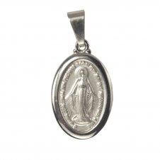 Imagem - Medalha Oval de Inox de Nossa Senhora das Graças Grande cód: 13610758