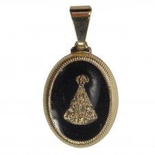 Imagem - Pingente Oval Nossa Senhora Aparecida Folheado a Ouro 13696142