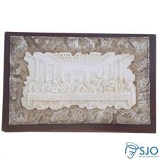 Porta-Retrato de Madeira Pergaminho Branco com Fundo Santa Ceia - 17 cm