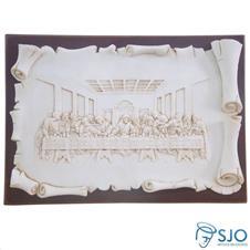 Porta-Retrato de Madeira Pergaminho Branco Santa Ceia - 21 cm