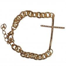 Imagem - Pulseira Folheada a Ouro com Cruz de Zircônia cód: 19115563