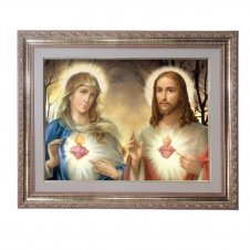 Imagem - Quadro - Sagrado Coração de Jesus e Maria - Modelo 1 - 52 cm x 42 cm cód: 11532310