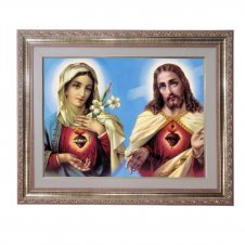 Imagem - Quadro - Sagrado Coração de Jesus e Maria - Modelo 2 - 52 cm x 42 cm - 14264647
