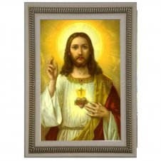 Imagem - Quadro Religioso Sagrado Coração de Jesus - 70 x 50 cm - Mod. 2 cód: NTNF11303905