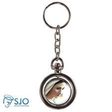 Chaveiro Redondo Giratório - Nossa Senhora Rainha da Paz - Modelo 1