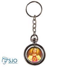 Chaveiro Redondo Giratório - Sagrado Coração de Jesus - Modelo 2