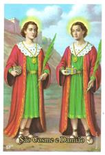 Santinhos de Oração São Cosme e Damião