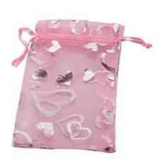 Saquinho de Organza 8 x 12 - Rosa com Corações Prata
