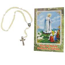 Terço com folheto de Nossa Senhora de Fátima