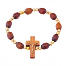 Imagem - Pulseira em Madeira com Crucifixo - Dourado Pequeno - 15937167