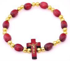 Imagem - Pulseira em Madeira com Crucifixo - Dourado cód: 13322937