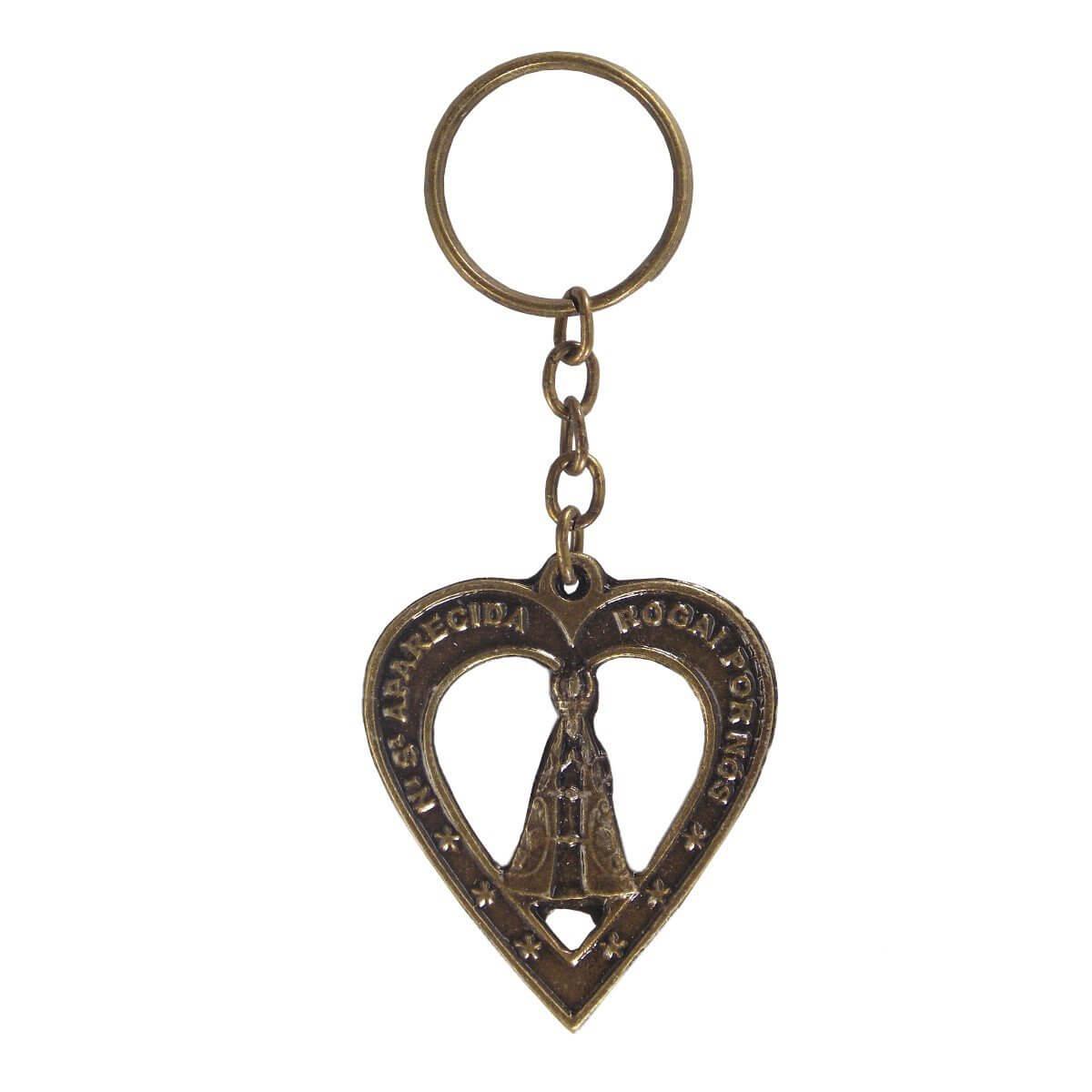 d1b56195a00e2 Chaveiro Coração Vazado Nossa Senhora Aparecida