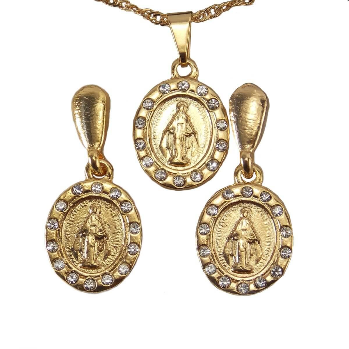 a206b64f35cd9 Conjunto de Brinco e Colar Nossa Senhora das Graças Folheado a Ouro ...