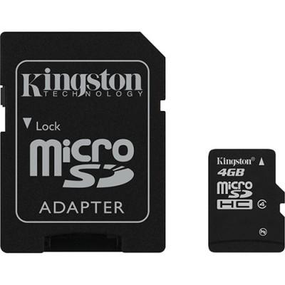 Cartão de Memória Kingston 4GB MicroSDHC c/ Adaptador SD - Casse 4