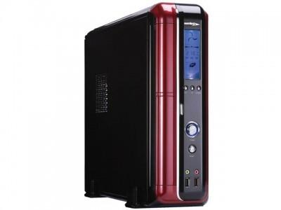 Gabinete Desktop Micro Atx Sentey Ss1-2422 Slim Com Fonte Bcp450 Display De Lcd Preto/Vermelho