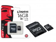 Cartao De Memoria Classe 10 Kingston Micro Sdhc 16Gb Com Adaptador Sd SDC10G2/16GB