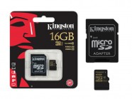 Cartao De Memoria Classe 10 Kingston Micro Sdhc 16Gb Com Adaptador Sd Uhs-I SDCA10/16GB