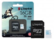 Cartao De Memoria Classe 10 Kingston Micro Sdhc Action 16Gb + Adaptador Sd Uhs-I U3