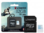 Cartao De Memoria Classe 10 Kingston Micro Sdhc Action 32Gb + Adaptador Sd Uhs-I U3