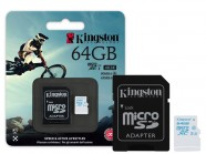 Cartao De Memoria Classe 10 Kingston Micro Sdhc Action 64Gb + Adaptador Sd Uhs-I U3