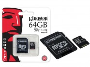 Cartao De Memoria Classe 10 Kingston Micro Sdxc 64Gb Com Adaptador Sd SDC10G2/64GB