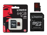 Cartao De Memoria Classe 10 Kingston Micro Sdxc 64Gb Uhs-I U3 Com Adaptador Sd SDCA3/64GB