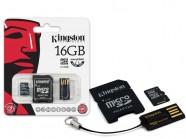 Cartao De Memoria Classe 4 Kingston Multikit Micro Sdhc De 16Gb + Adaptador Sd + Adaptador Usb