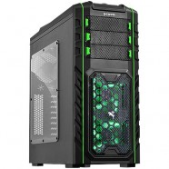 Gabinete PCYes Gamer Pegasus Mid Tower S/ Fonte 02 Fans Led Verde Frontal 01 Fan Traseiro- 21501