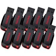 Kit 10 Pen Drives Sandisk Cruzer Blade Sdcz50-008g-B35 8gb Preto/Vermelho