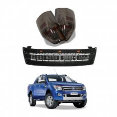 Imagem - Kit Grade Frontal e Lanterna LED Fumê Ford Ranger Raptor  cód: KIT.01.RANGER