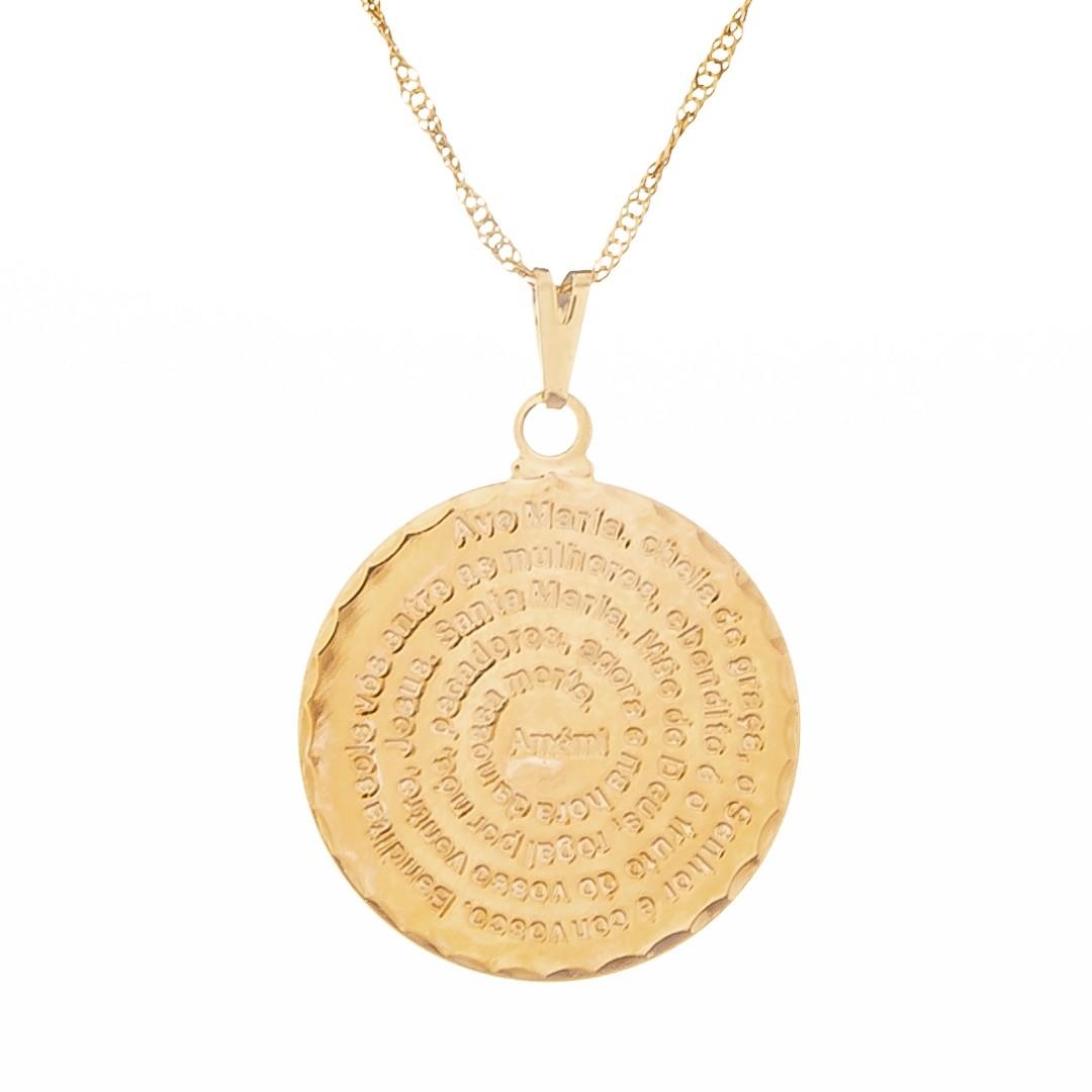 Imagem - Colar Medalha Ave Maria 25mm - Sunshine Cristais cód: 5676O