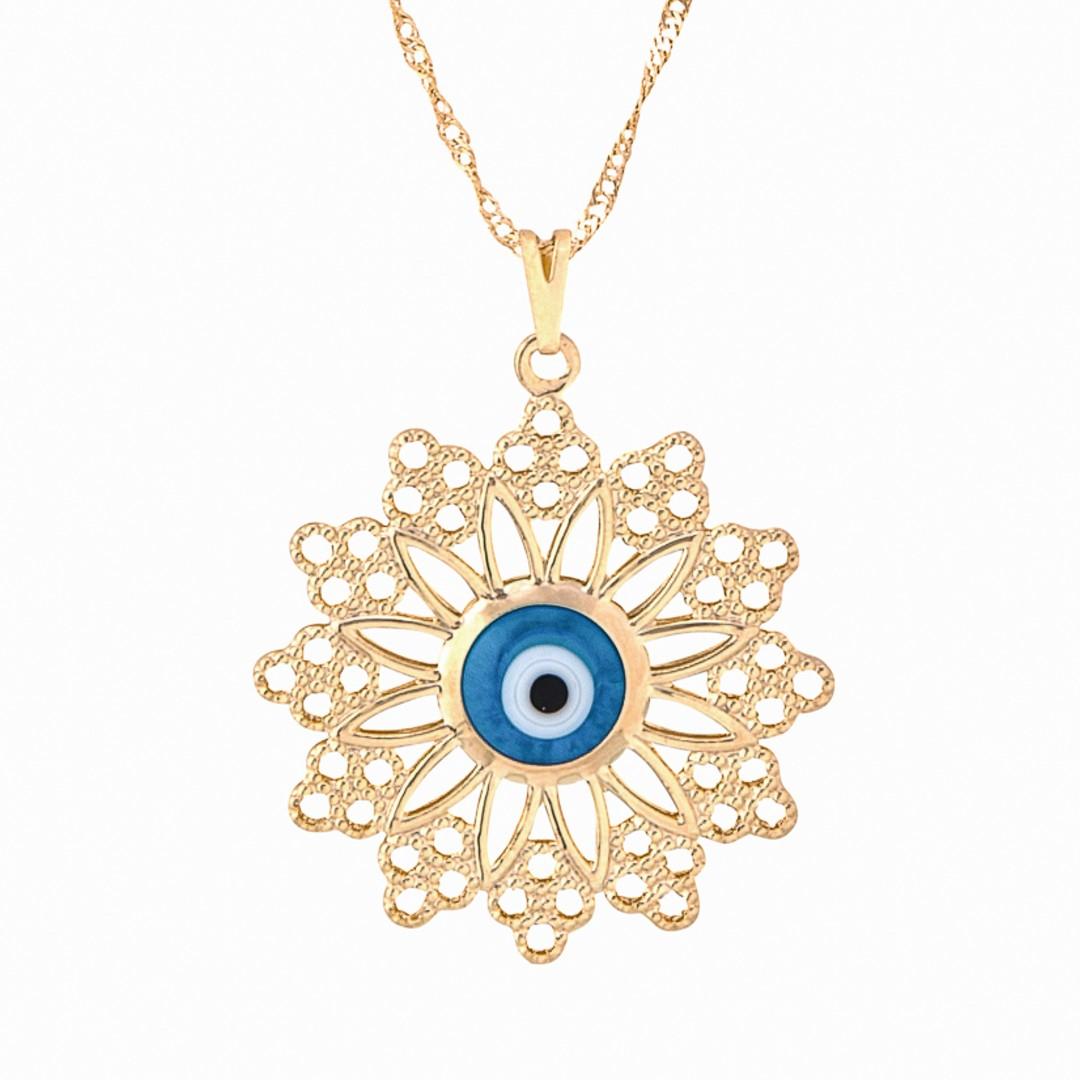 Imagem - Colar Mandala com Pontas e Olho Grego 32mm - Sunshine Cristais cód: 3122O