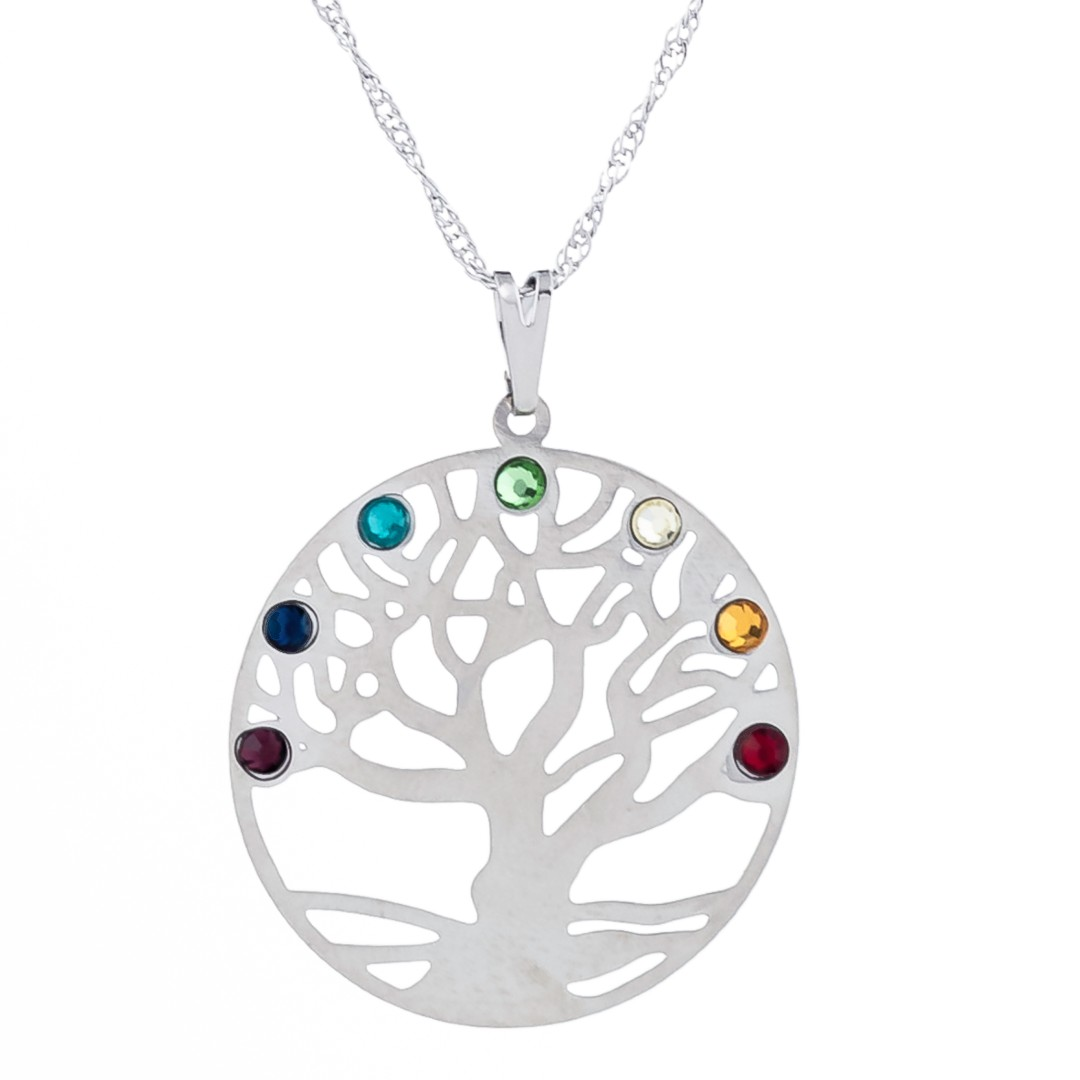 Imagem - Colar Árvore da Vida Chakras com Aro 30mm - Sunshine Cristais cód: 5707R