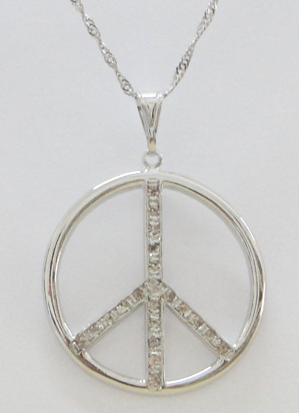Imagem - Gargantilha Símbolo da Paz com Strass 17mm cód: 5637R