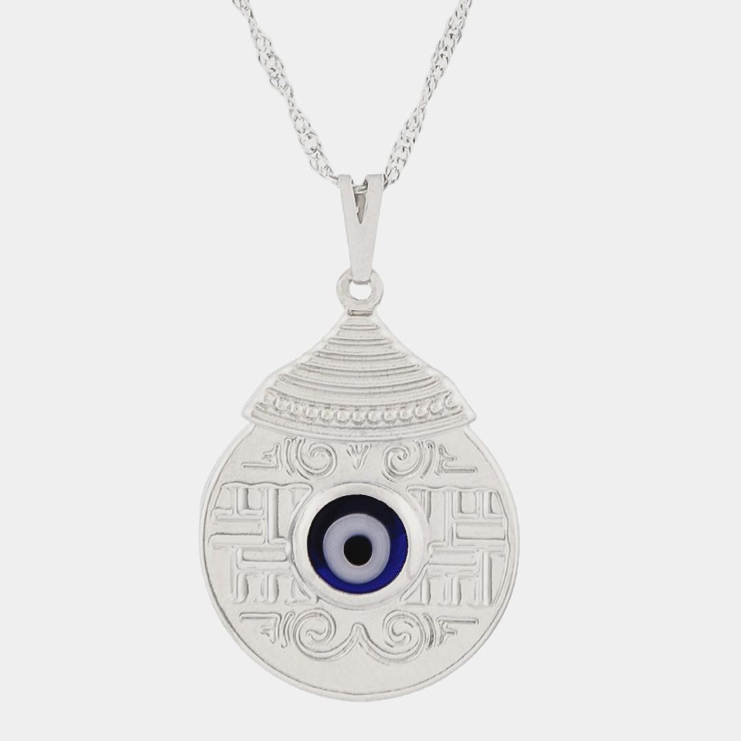 Imagem - Colar Mandala Egípcia com Olho Grego 25mm - Sunshine Cristais cód: 3123R