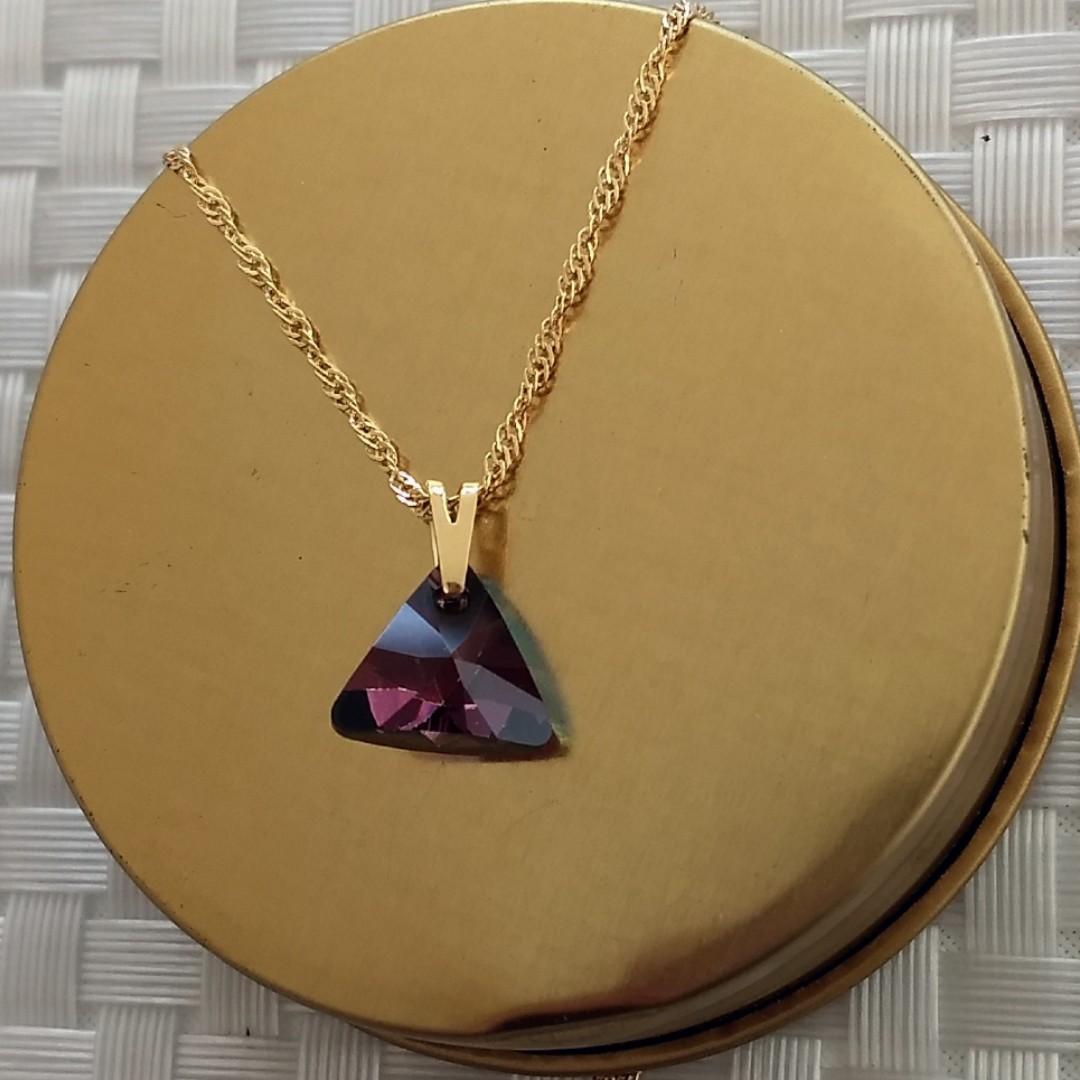 Imagem - Gargantilha Swarovski Triângulo 12mm Lilac Shadow cód: 1710O