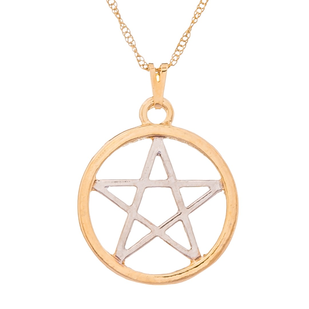 Imagem - Colar Pentagrama Ouro com Rodio 25mm - Sunshine Cristais cód: 5629O