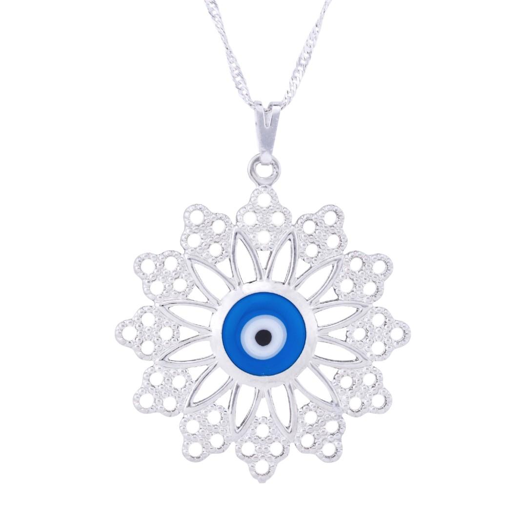 Imagem - Colar Mandala com Pontas e Olho Grego 32mm - Sunshine Cristais cód: 3122R