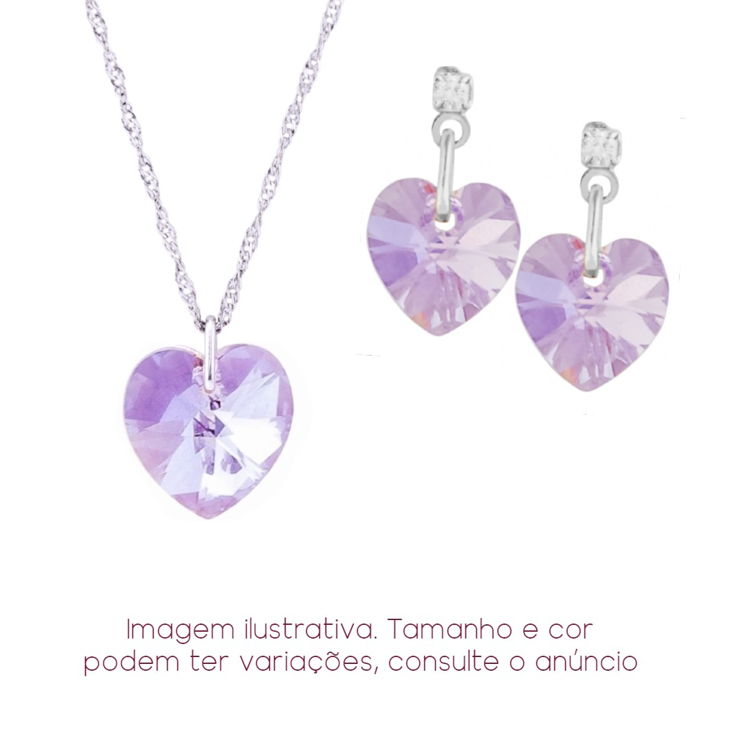 Imagem - Conjunto Coração Violet AB Swarovski 10mm+10mm | Sunshine cód: 8510R
