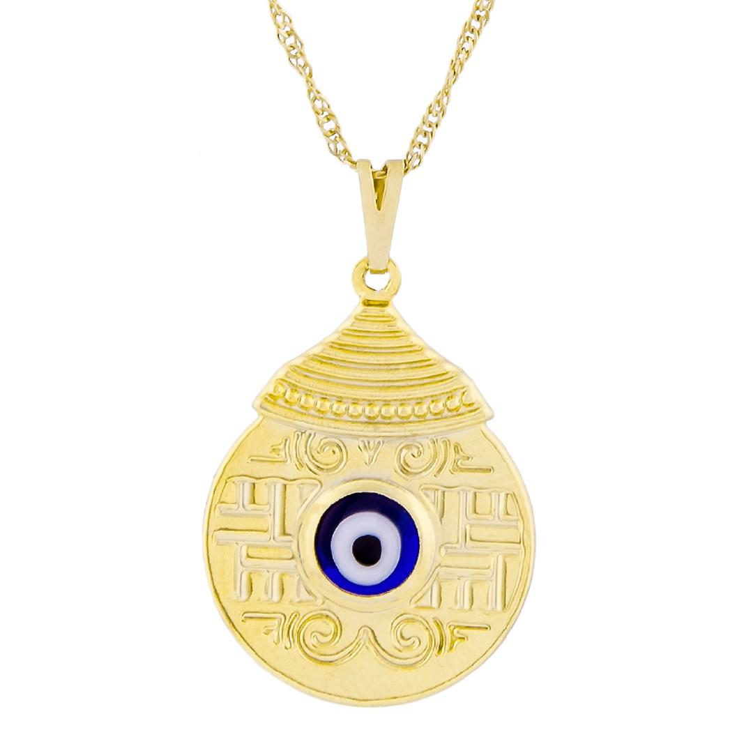 Imagem - Colar Mandala Egípcia com Olho Grego 25mm - Sunshine Cristais cód: 3123O