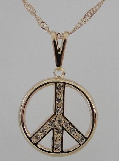 Imagem - Gargantilha Símbolo da Paz com Strass 17mm cód: 5637O