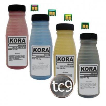 Kit Refil de Toner com Chip HP Color LaserJet 2600   Q6000A   Q6001A   Q6002A   Q6003A    Kora